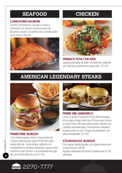 LongHorn Steakhouse menu